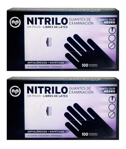 Imagen 1 de 1 de 2 Guantes De Nitrilo Negros Descartables X 100 Unidades