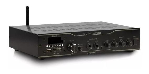 Amplificador Frahm Slim 3000 App Bluetooth Usb Som Ambiente