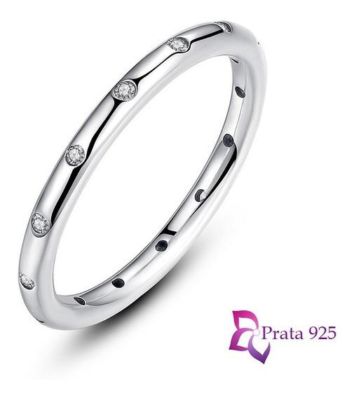 Anel Prata 925 Legítima Inspiração Pandora Aliança Zircônias