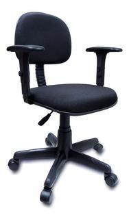 Cadeira Giratória Com Braço Regulavel Ultra Preta