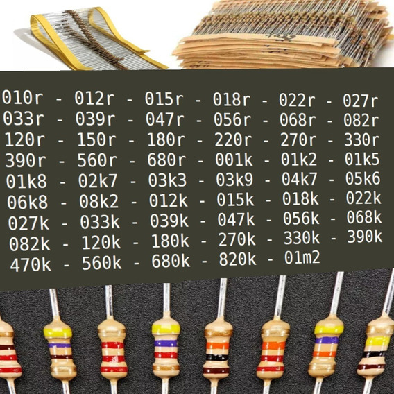 Kit 53 Valores De Resistores, 20 Cada, 1060 Peças No Total