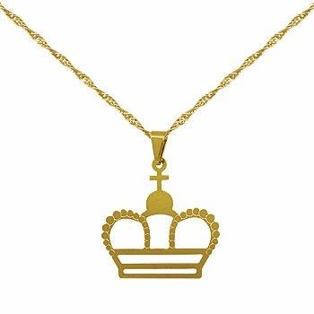 Gargantilha Folheada A Ouro E Pingente Em Forma De Coroa