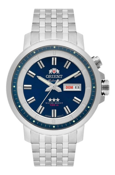 Relógio Orient Prata Automatico Com Fundo Azul Masculino