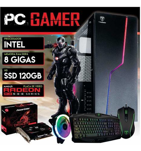 Pc Gamer Intel Ssd 120gb Hd 500 8gb Ddr4 Mouse Teclado Rgb