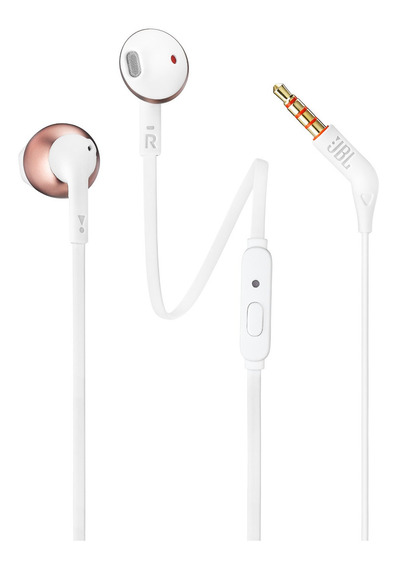 Fones De Ouvido Auriculares Jbl T205 Branco Com Rose