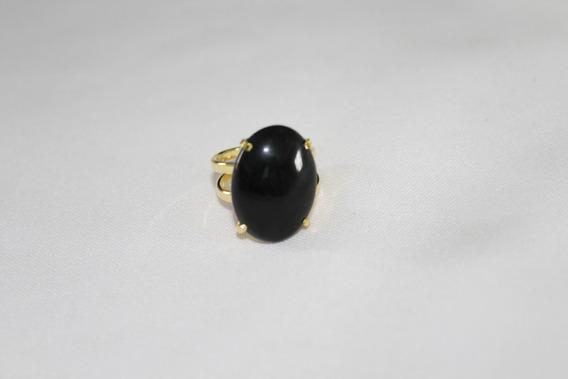 Anel Ajustável De Obsidiana Negra Cabochão Banho De Ouro