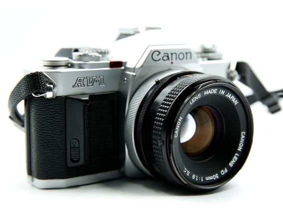 Câmera Canon Av-1 + Lente Canon Fd 50mm 1.8 Sc + Lente Cimko 80-200mm