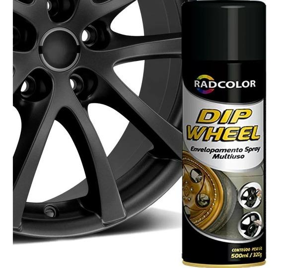 Tinta Spray Dip Wheel Preto Fosco - Envelopamento Líquido
