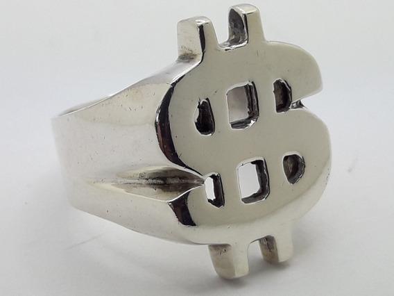 Anel Prata Maciça 925 - Cifrão - $ - Dinheiro - Ostentação