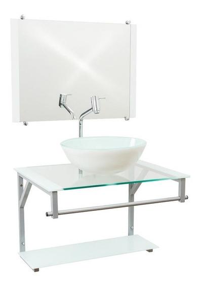 Gabinete De Vidro 60cm Com Cuba Para Banheiros - Cores