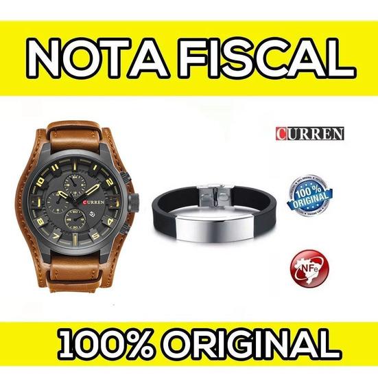 Relógio Masc Curren Original Couro C/ Nf + Pulseira Brinde