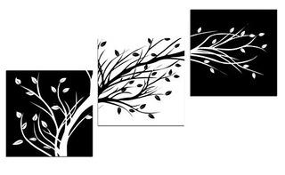 Wieco Art Leaves Modern 3 Paneles Flowers Artw