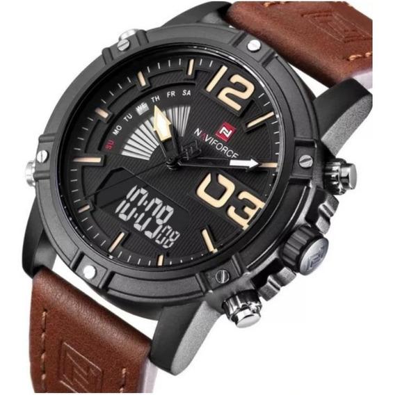 Relógio Naviforce Esportivo Analógico Digital Led Na Caixa