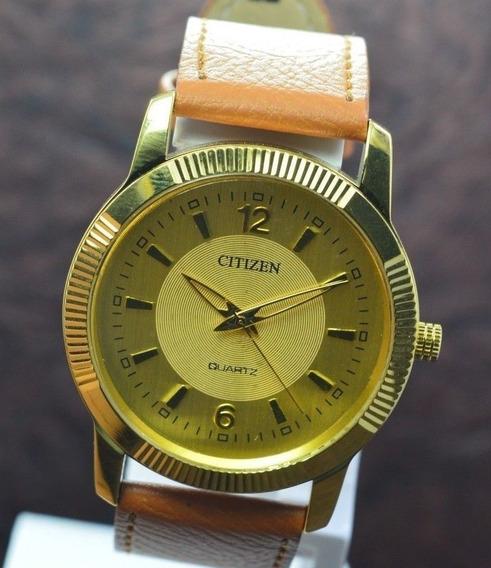 Relógio Pulseira De Couro Citizen Banhado A Ouro Feminino