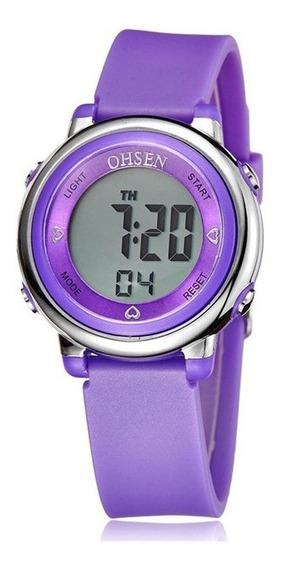 Relógio Feminino Ohsen Silicone Digital Led Alarme