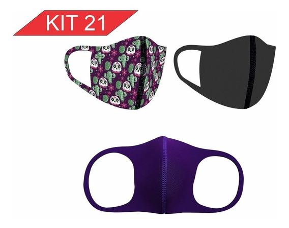 3 Mascaras Proteção Respiratória Tecido Não Descartável