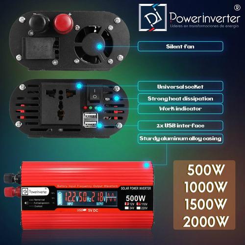 Inversor De Voltaje 24vdc/220vac 1200w Lcd Pantalla