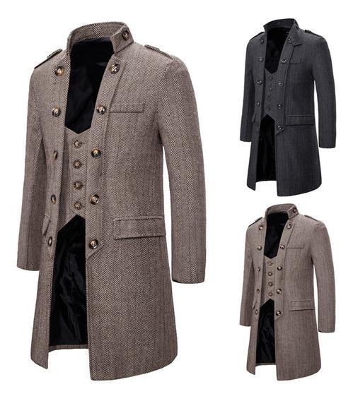 Abrigo Hombre Elegante Retro Trench Coat Gótico Vitoriano