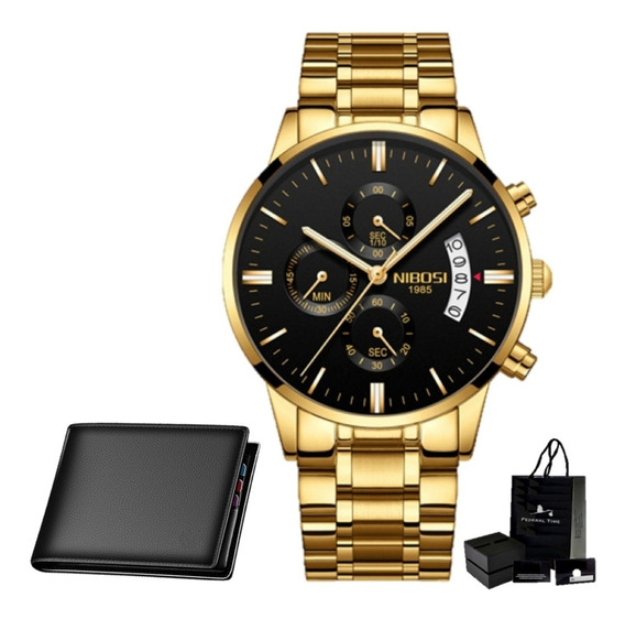 Relógio Masculino Nibosi Ouro Original Dourado Carteira Luxo