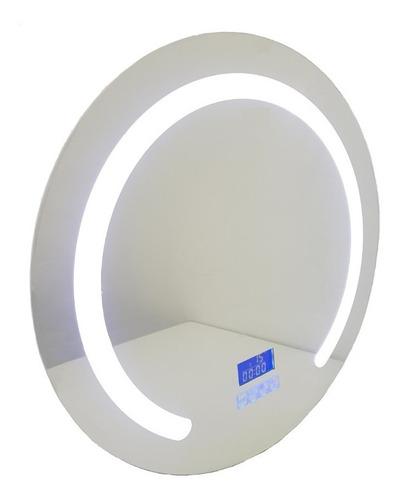 Espejo Baño Luz Led Redondo Desempañador Hora Temp 60 Cm