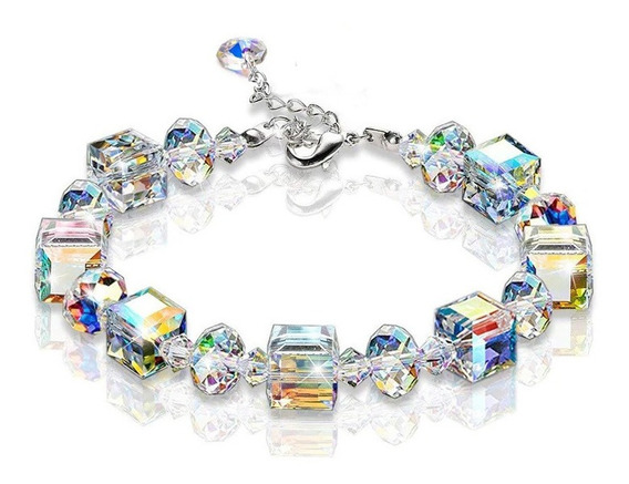 Pulseira Poligonal Geométrica Cristal Cristal Brilhante