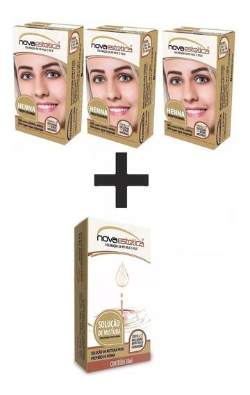 3 Kit Henna P/sobrancelhas Nova Estética+ Solução De Mistura
