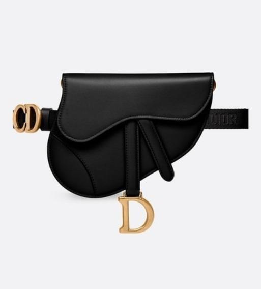 Bolsa Dior Saddle Belt Cinto Preta Com Dourado Couro