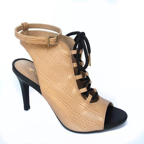 Sapato Feminino Ankle Boot Via Uno Nude Croco Com Cadarço