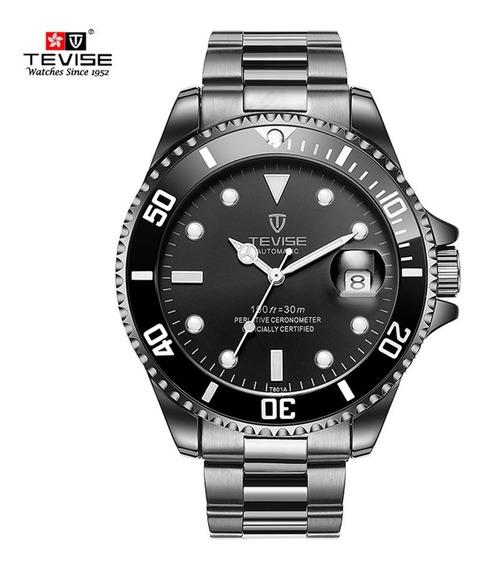 Relógio Automático Tevise Masculino Visor Preto Original