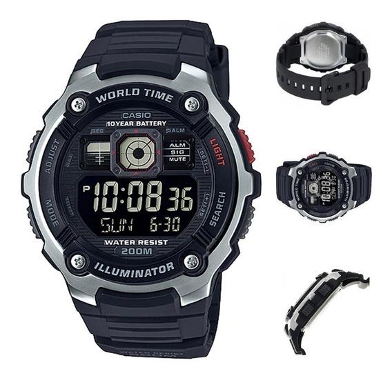 Reloj Casio Hombre Ae-2000w-1bv, 200m, Luz, Hora Mundial