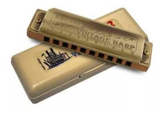 Gaita Hering Vintage Harp Corpo De Madeira - 10 Furos Em C