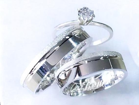Aliança Em Prata 950, 5mm Com Friso Diamantada + Solitario
