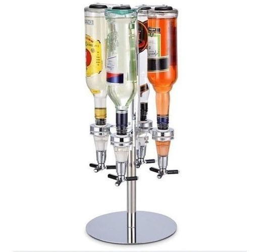 Porta Bebidas Giratório Dosador Dispenser Inox 4 Garrafas
