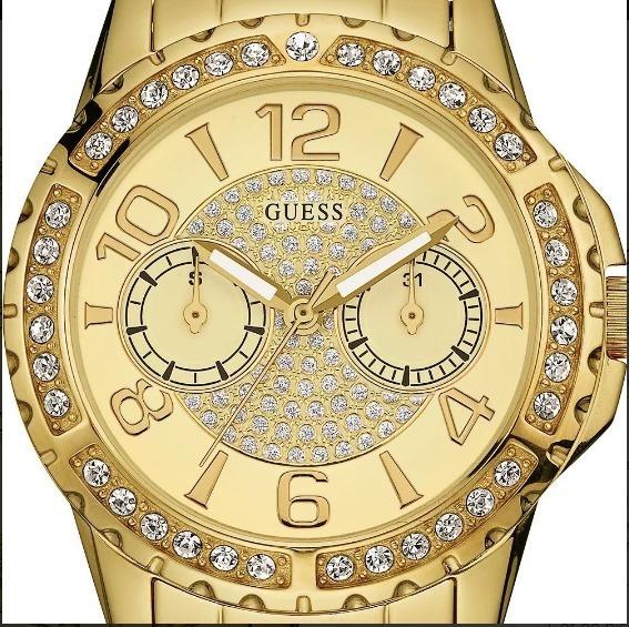 Relógio Feminino Guess Dourado Com Pedrarias