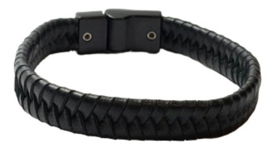 Pulseira Bracelete Masculina Couro Legitimo Preto