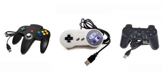 Kit Controle Usb - Super Nintendo - Nintendo 64 - Ps2