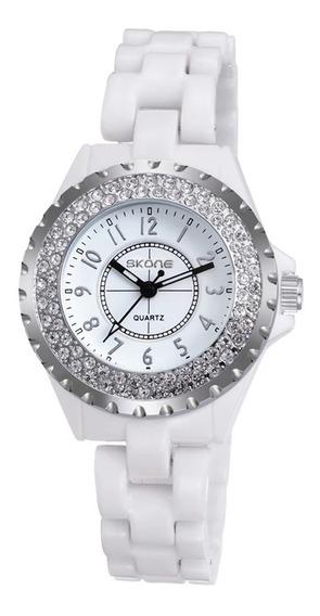 Relógio Cerâmica Branco Médico Cristais Delicados Luxo