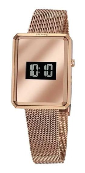 Relógio Seculus Feminino Digital Malha Aço Rosé Original