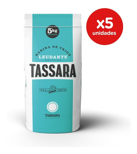 Harina De Trigo Leudante Pack 5 X 5 Kgs Tassara Ideal Tortas