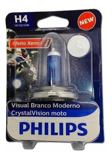 Lâmpada Super Branca Xre300 Philips Crystalvision H4 60/55w