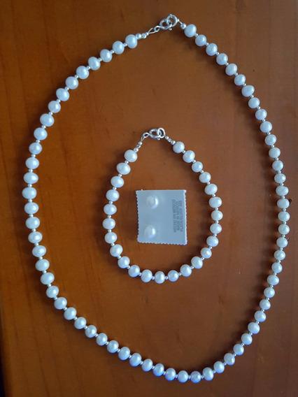 Collar De Perlas, Aretes Y Pulsera