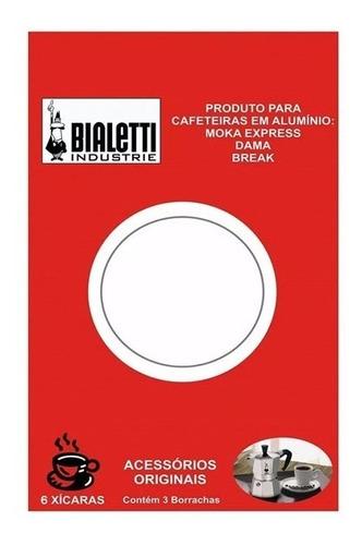 Imagem 1 de 3 de Kit  3 Borrachas + Filtro Cafeteira Moka Bialetti 6 Xícaras