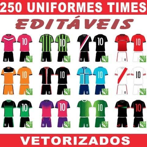 Uniformes Editáveis Sublimação 250 Estampas Times