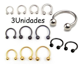 Piercing Ferradura Septo-orelha 1.2mm X 6/8/10/12mm -3 Peças