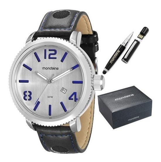 Kit Relógio Mondaine Masculino Com Caneta Pen Drive 94791g0m