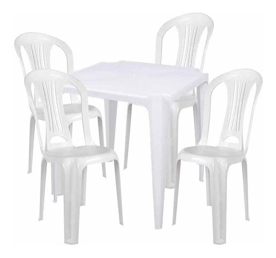 Conjunto Mesa Plástica Com 4 Cadeiras Bistrô Mor