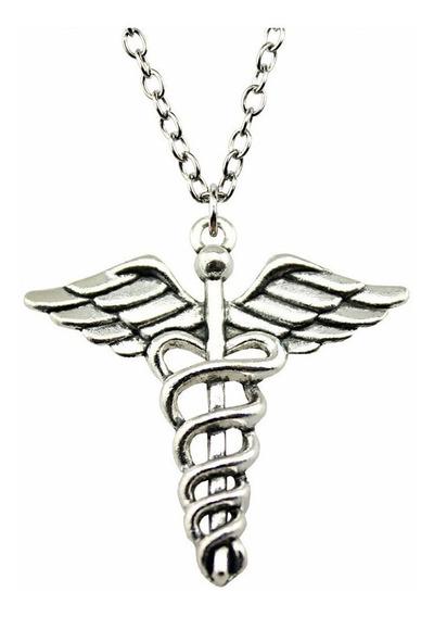 Cordão Pingente Caduceu Emblema Hermes Contabilidade