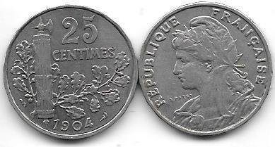 Moneda Francia 25 Centesimos Año 1904