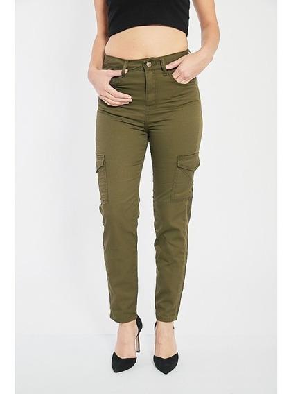 Pantalon Cargo Gabardina Verde Azul Rigido Mujer Calidad Imb