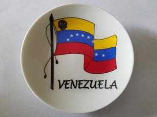 Recuerdo Plato De Venezuela En Porcelana Pared 11.5 Cm